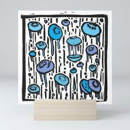 Blueberry Rain - Linoprint Mini Art Print