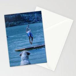 Dog watches master jump in water (Summertime reflections) Stationery Cards