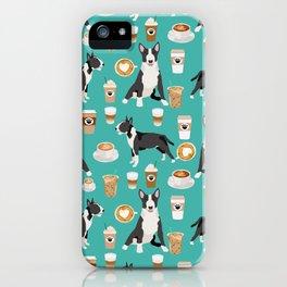 Bull Terrier coffee latte cafe dog breed cute custom pet portrait pattern iPhone Case