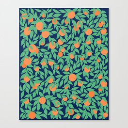 Oranges and Leaves Pattern - Navy Blue Canvas Print