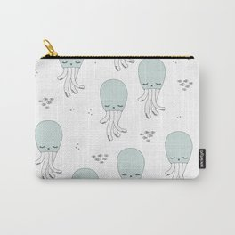 Soft Blue Jelly Fish lovely under water squid kids pattern design Carry-All Pouch