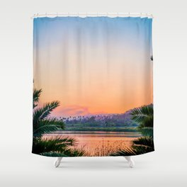 Between the Palms (Color) Shower Curtain