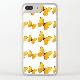 DECORATIVE WHITE  ART OF YELLOW BUTTERFLIES Clear iPhone Case
