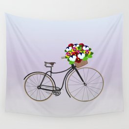 Bicycle Pansies Wall Tapestry