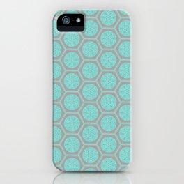 Hexagonal Dreams - Grey & Turquoise iPhone Case