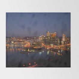 Pittsburgh, Pennsylvania Downtown Night Time River with Bridges Throw Blanket