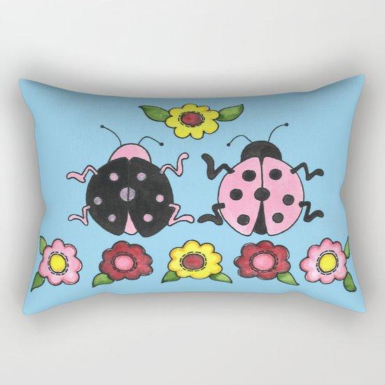 Ladybugs in Pink & Black Rectangular Pillow