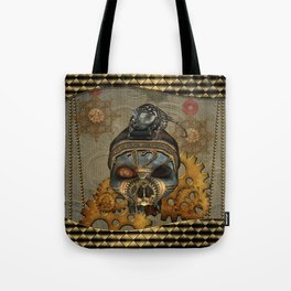 Steampunk, awesome steampunk skull with steampunk rat Tote Bag
