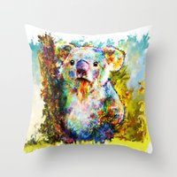 koala Throw Pillows featuring Koala  by ururuty