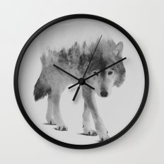 Wolf In The Woods (black & white version) Wall Clock