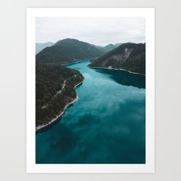 Mountain Lake Print, Sylvenstein Germany, Alps, Nature Photography, Landscape Poster, Wall Art Art Print