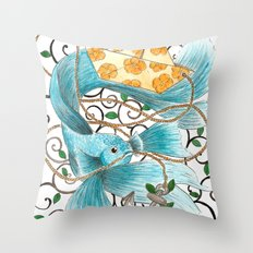 Underwater tales - the boat Throw Pillow