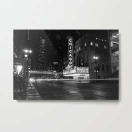 Chicago Theater Black and White Metal Print