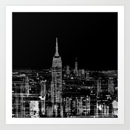 Contemporary Elegant Silver City Skyline Design Art Print
