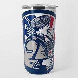 American Bagpiper USA Flag Icon Travel Mug