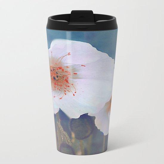White poppies(2) Metal Travel Mug