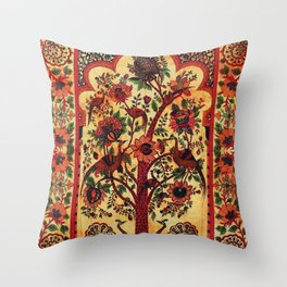 Indian Peacock Flower Tapestry Throw Pillow