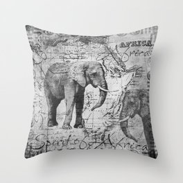 African Spirit Vintage Elephant black white Throw Pillow