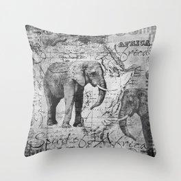 African Spirit Vintage Elephant black white Throw Pillow