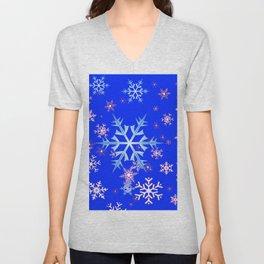 DECORATIVE BLUE  & WHITE SNOWFLAKES PATTERNED ART Unisex V-Neck