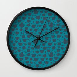 Teacup and Teapot Silhouettes- blue teal Wall Clock