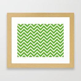 green, white zig zag pattern design Framed Art Print