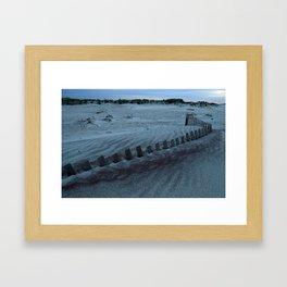 Buried Fences - Jones Beach, Long Island Framed Art Print