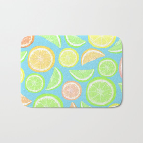 Mixed Citrus - blue Bath Mat