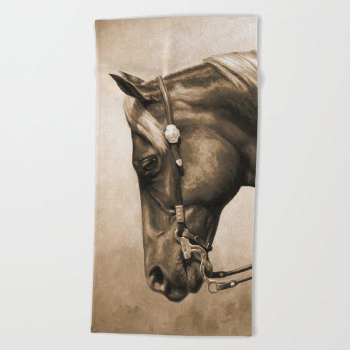 Western Quarter Horse Old Photo Effect Beach Towel