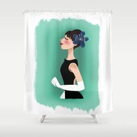 audrey hepburn Shower Curtains featuring Audrey Hepburn by carotoki