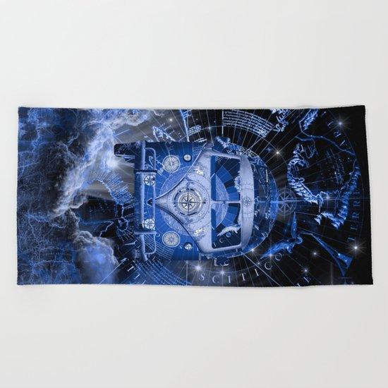 galaxy vintage voyager world map design Beach Towel