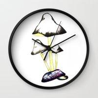 mushroom Wall Clocks featuring MUSHROOM by gaus