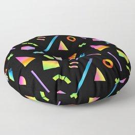 Neon Gradient Postmodern Shapes Floor Pillow