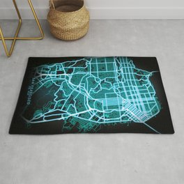San Francisco, CA, USA, Blue, White, Neon, Glow, City, Map Rug