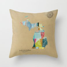 Michigan  state map  Throw Pillow