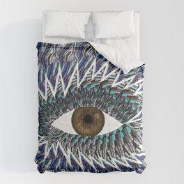 Origami Chakra Eye - Chocolate Brown Black Comforters
