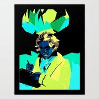 beethoven Art Prints featuring Beethoven by James Hernandez