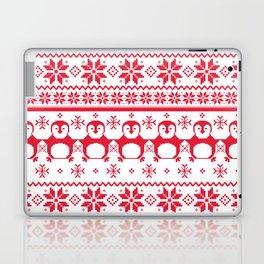 Red Scandinavian Penguin Holiday Design Laptop & iPad Skin