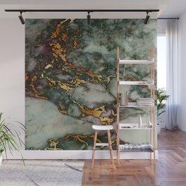 Gray Green Marble Glitter Gold Metallic Foil Style Wall Mural