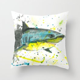 Shark - Watercolor Painting Throw Pillow