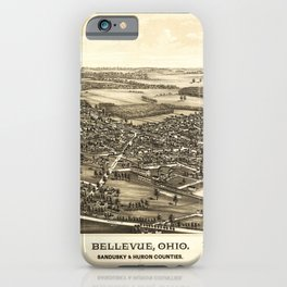 Aerial View of Bellevue Ohio Sandusky & Huron counties (1888) iPhone Case