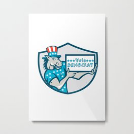 Vote Democrat Donkey Mascot Shield Cartoon Metal Print