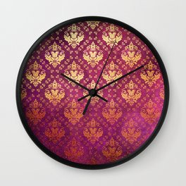 Antique Rose and Gold Pattern Print Wall Clock