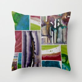 Painted tiles collage Throw Pillow