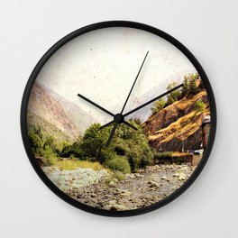 Vintage landscape mountains and river Wall Clock