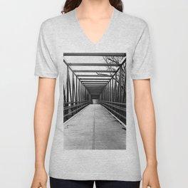 Bridge to Nowhere Black and White Photography Unisex V-Neck