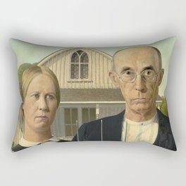 American Gothic Oil Painting by Grant Wood Rectangular Pillow