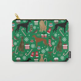 Christmas Greyhound pattern gifts for greyhound rescue dogs must have festive holiday dogs Carry-All Pouch