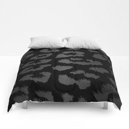 Black & Gray Metallic Leopard Print Comforters