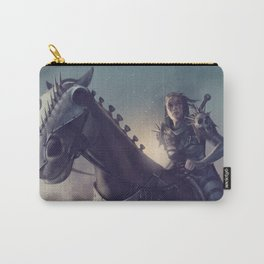 Roe sitting on a horse BLUE Carry-All Pouch